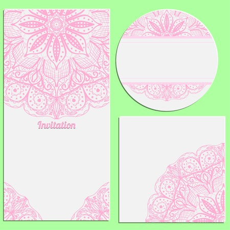 Set of invitation cards with beautiful pink lace pattern. Invitation, thank you card, RSVP card. Vector illustration. Vector