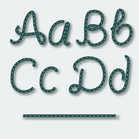 Letters A B C D - handwritten alphabet of rope. Vector illustration. Vector