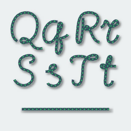 Letters Q R S T  - handwritten alphabet of rope. Vector illustration. Vector