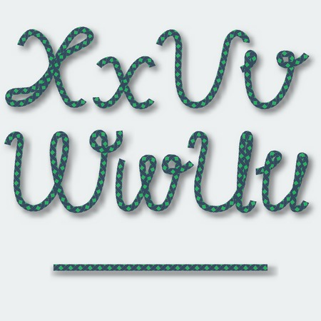 Letters U V W X - handwritten alphabet of rope. Vector illustration. Vector