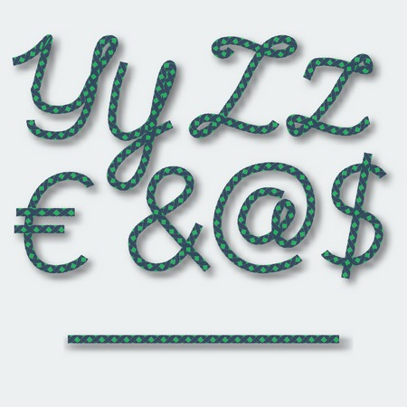 Letters Y Z and symbols dollar @ Euro &- handwritten alphabet of rope. Vector illustration.