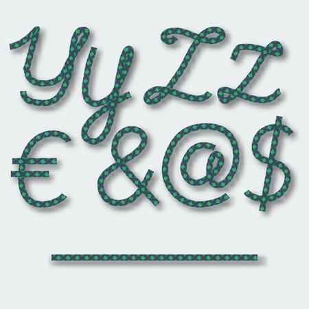 Y Z の文字および記号のドル @ ユーロ ・ -ロープの手書きのアルファベット。ベクトルの図。