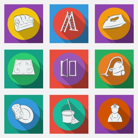 Fashionable flat icons with long shadows cleaning theme.  Vector illustration. Vector