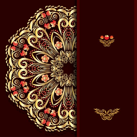 Rich burgundy background with a round gold floral pattern and place for text Vector