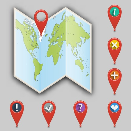 Icon of map and set of different pointers illustration  Vector