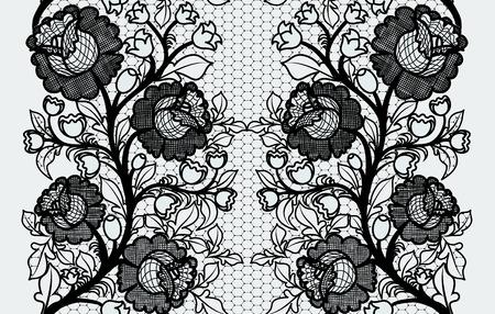 Cinta de encaje negro transparente con rosas ancha Foto de archivo - 28456381