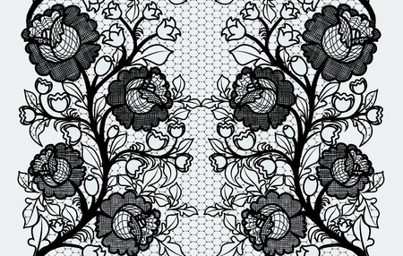Wide seamless black lace ribbon with roses