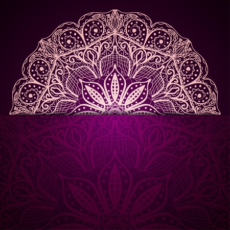 Stylish purple background with a light circular lace pattern Vector