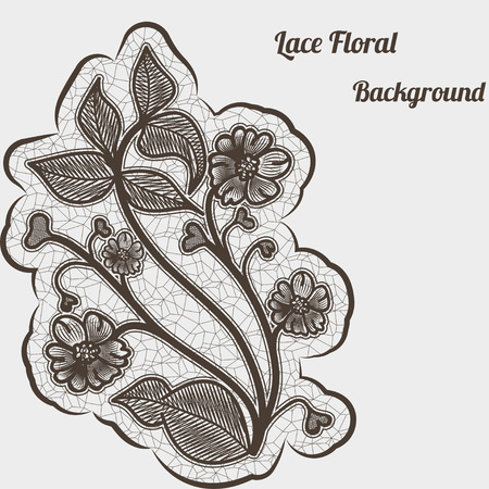 Background with black lace flower. For design greeting cards and invitations. Vector
