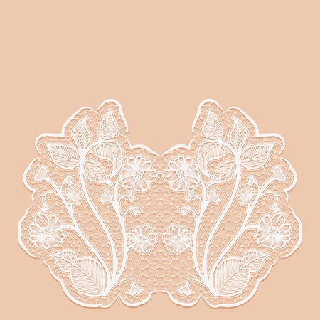 Template greeting or invitation card with with lace flowers. Pink background. Vector