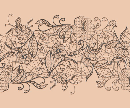 black ribbon: Seamless lace black ribbon on a pink background. For issuing invitations and greeting cards.  Illustration