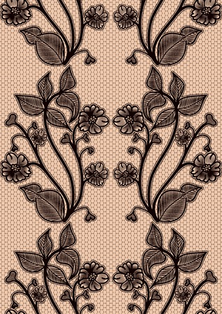 fishnet: Seamless lace pattern. Black fishnet flowers on a pink background. For design invitations and greeting cards.  Illustration