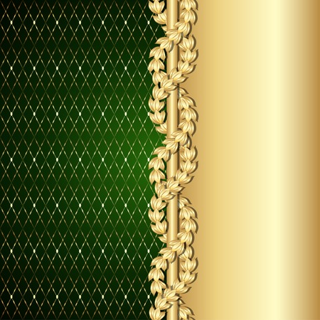 Vintage gold and green background with laurel leaves.  Vector