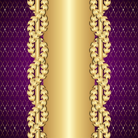 Vintage gold and purple background with laurel leaves.  Çizim