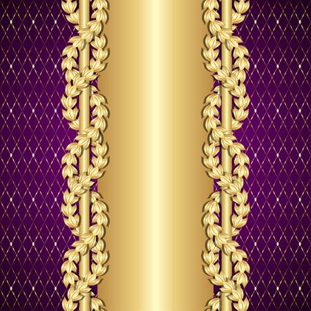 Vintage gold and purple background with laurel leaves.  Ilustração