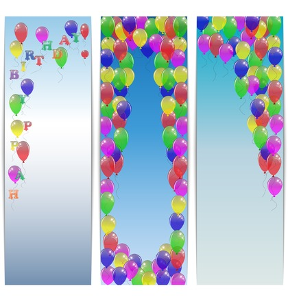 Set of greeting banners happy birthday with balloons. Vector illustration. Vector