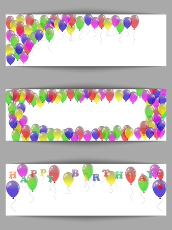 Set of greeting horizontal banners happy birthday with balloons. Vector illustration. Vector