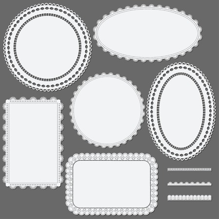 Set of lace frames napkins and ribbons. Vector illustration. Vector