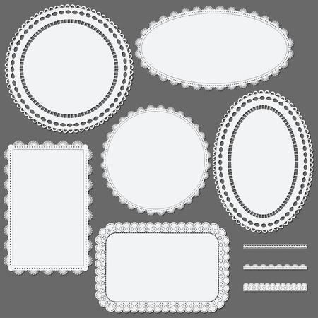 snug: Set of lace frames napkins and ribbons. Vector illustration. Illustration