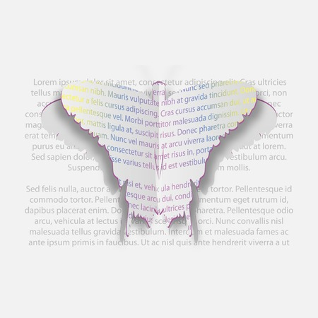 Paper Butterfly of the text  Stylish background  Greeting card  Vector illustration  Vector