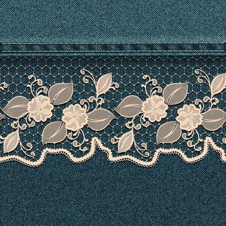 Denim background with white lace ribbon   Illustration