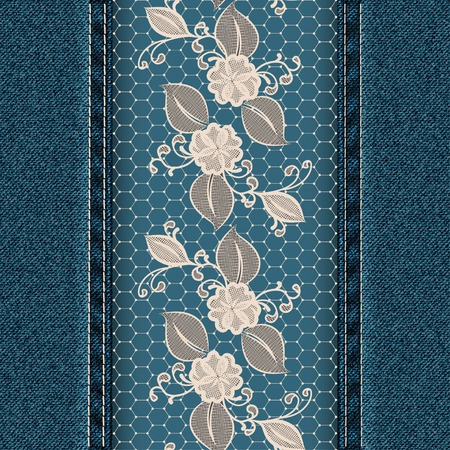 Denim vertical background with white lace ribbon