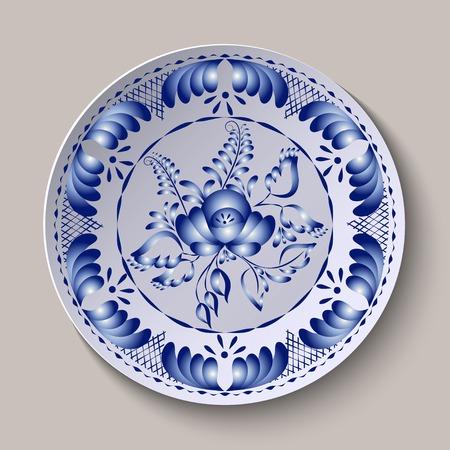 gzhel: Round floral ornament Gzhel style  Illustration