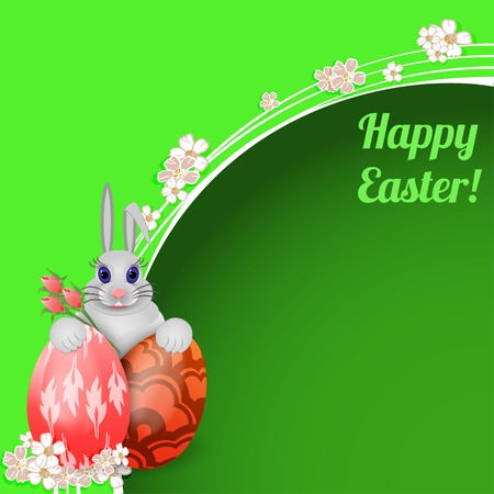 rabbit hole: Easter card with rabbit and colored Easter eggs  Illustration