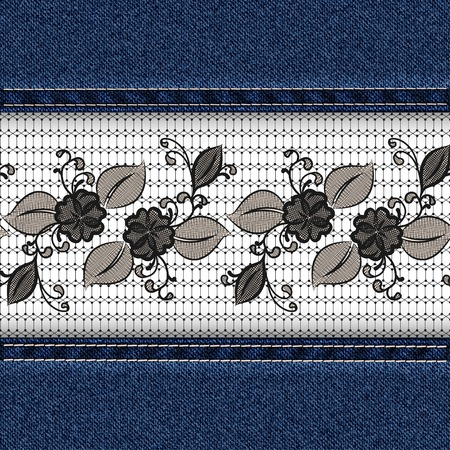 seams: Denim horizontal background with black lace ribbon
