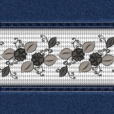 Denim horizontal background with black lace ribbon