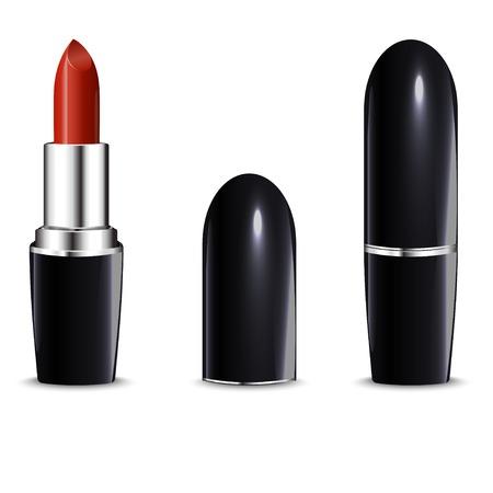 Red lipstick in black case  Indoor and outdoor version   Vector