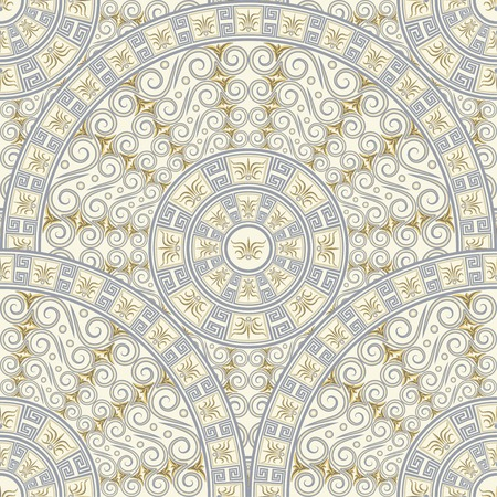 Seamless background of circular patterns  Light gray ornament in the Greek style  Vector illustration