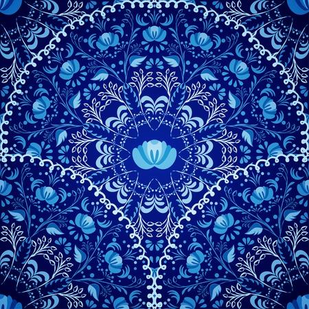 Seamless des motifs circulaires Marine ornement bleu style national russe Gjel Vector illustration Banque d'images - 31025711