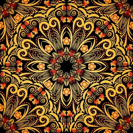 Bright ornament in style khokhloma  Seamless background of circular patterns  Vector illustration  Vector