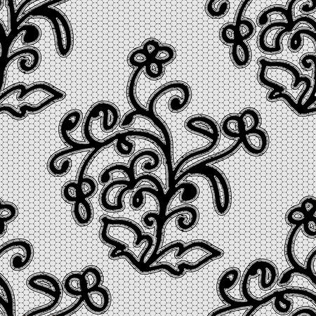 Seamless black lace pattern. Vector illustration. Vector