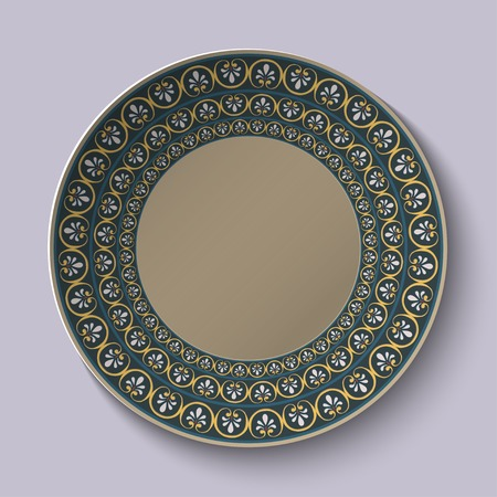 Dish with ornament stylized the ancient Roman pattern. Vector illustration. Vector