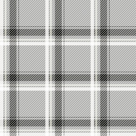 fab: Seamless light tartan pattern fabric. Black and white cells on a gray background.  Vector illustration.