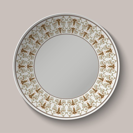ancient roman: Plate with ornament stylized the ancient Roman pattern. Vector illustration.
