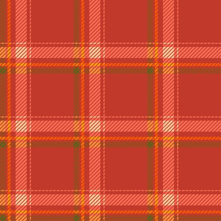 fab: Seamless tartan pattern fabric. Cells green yellow and white on a red background. Vector illustration. Illustration