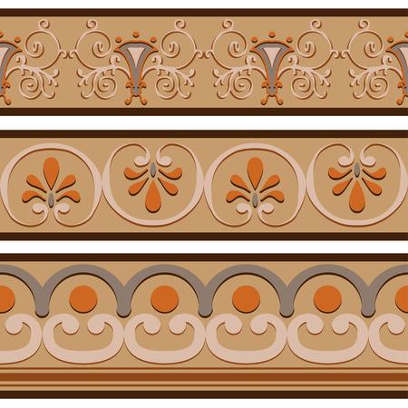 ancient roman: Set of ancient Roman ornaments  border patterns. Vector illustration.