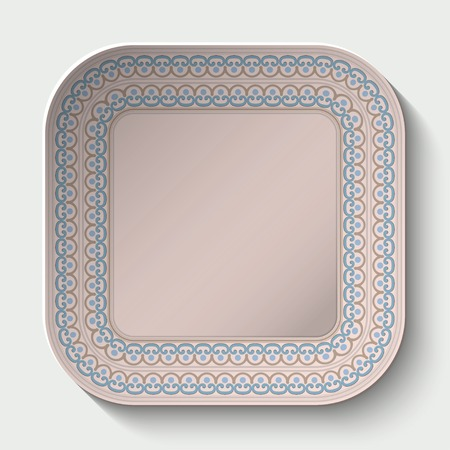 ancient roman: Rounded square plate with Rounded square plate with ornament stylized the ancient Roman pattern. Vector illustration.