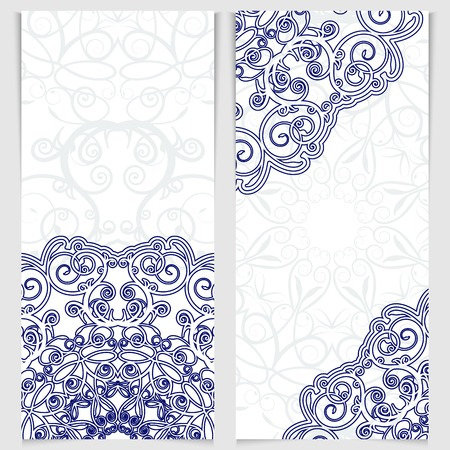 Set of greeting cards or invitations in the style of imitation Chinese porcelain painting. Blue victorian floral decor. Template frame for the banner or background. Place for your text. Vector illustration.