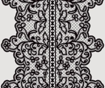ruban noir: Large ruban transparent en dentelle avec des fleurs délicates. Vector illustration. Illustration