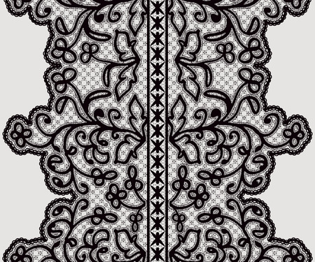 black ribbon: Seamless wide lace ribbon with delicate flowers. Vector illustration. Illustration