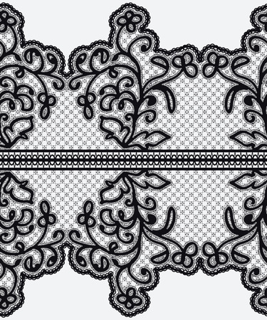 Seamless wide lace ribbon with openwork flowers. Vector illustration. Vector