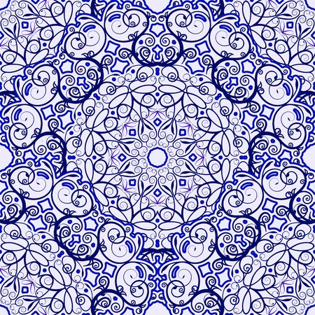 chinaware: Seamless background of circular patterns. Blue ornament in ethnic style. Vector illustration.