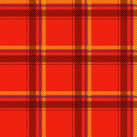 black and yellow: Seamless tartan pattern fabric. Cells black yellow and blue on a red background. Vector illustration. Illustration