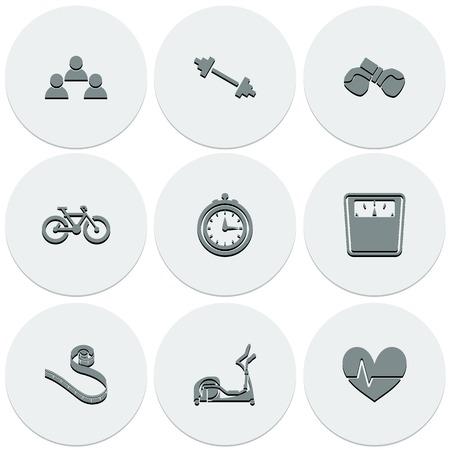 simulators: Set of light icons on round fitness. Fashionable flat design. Vector illustration. Illustration