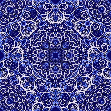 Seamless background des motifs circulaires. Marine ornement bleu dans un style ethnique. Vector illustration. Banque d'images - 31084581