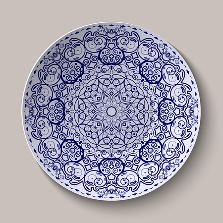 chinaware: Round blue floral ornament Chinese style painting on porcelain.  Pattern shown on the ceramic platter. Vector illustration.